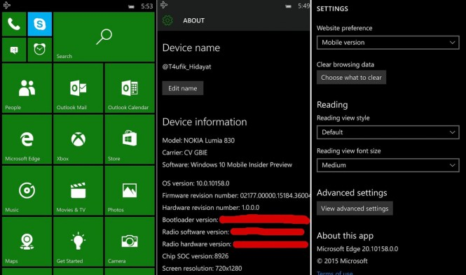 Скриншоты Windows 10 Mobile build 10158 попали в Интернет