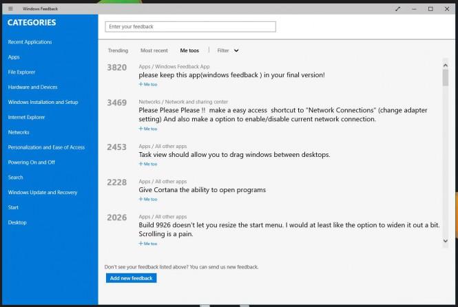 Microsoft объяснила исчезновение старых отзывов из Windows Feedback