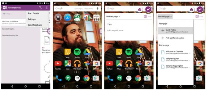 Клиент OneNote для Android получил новую функцию Floaty