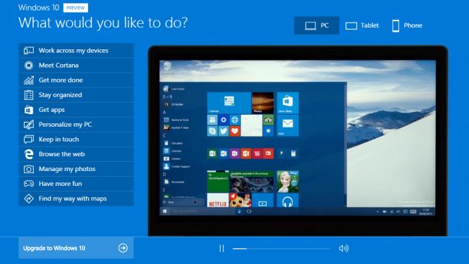 Microsoft представила демонстрационный сайт, посвящённый Windows 10