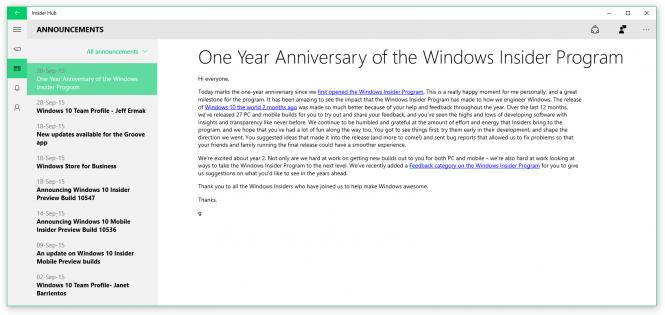 Программе Windows Insider исполнился год