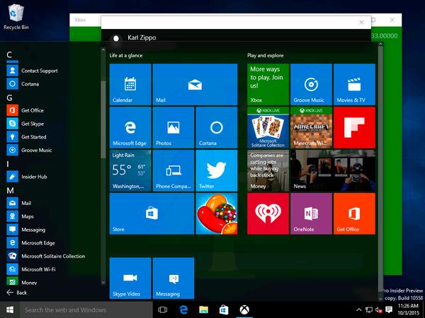 В Сеть утекла сборка Windows 10 IP 10558