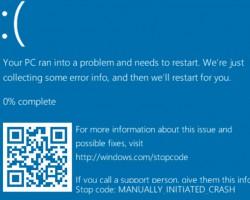 Microsoft добавил QR-код насиний экран смерти Windows10