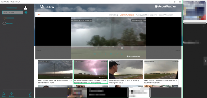 Приложение AccuWeather проигрывает видеозаписи о погоде
