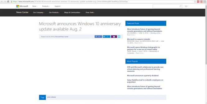 Microsoft случайно сообщила дату выхода Windows 10 Anniversary Update