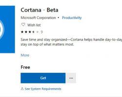 В магазин Microsoft добавили бета-версию Cortana